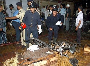 The blast site at Zaveri Bazaar