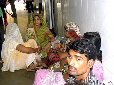 Family members of injured victims at KEM Hospital