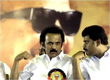 M K Stalin at a DMK function