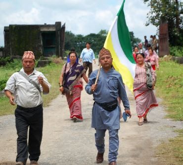 GJM supporters on their way to witness the tripartite agreement.