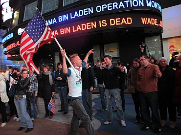 Americans celebrate after hearing the news of bin Laden's death