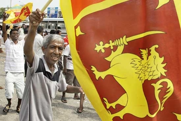A man celebrates the end of LTTE on the streets of Colombo