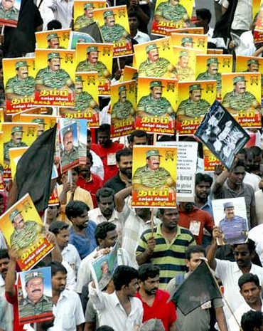 Supporters of LTTE chief Prabhakaran participate in a rally