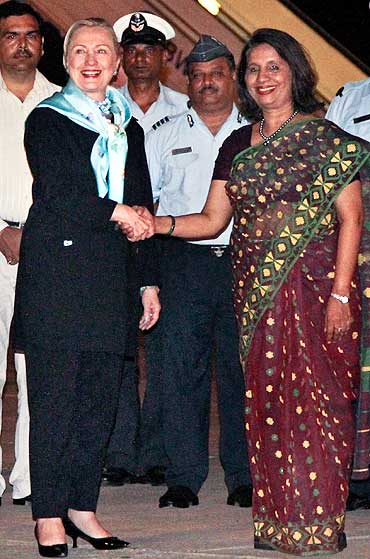 US Secretary of State Hillary Clinton with Foreign Secretary Nirupama Rao