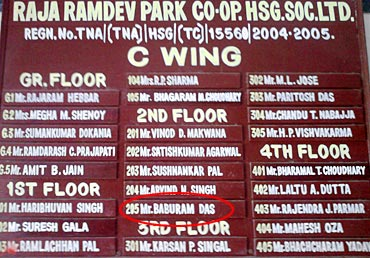 Baburam's name is seen on the society board
