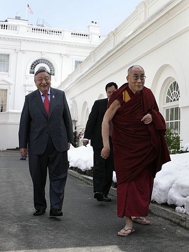 File picture of the Dalai Lama speaking to the media after a meeting US President Obama in Washington in February, 2010.
