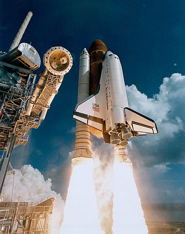 Mission STS-51J was the first flight of space shuttle Atlantis, launching October 3, 1985 to deliver a communications satellite for the Department of Defense.