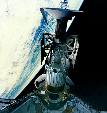 The Magellan spacecraft is deployed from the cargo bay of the Space Shuttle Atlantis (STS 30) in 1989. Magellan was the first planetary spacecraft launched from the space shuttle.