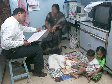 A family being enumerated during the census exercise
