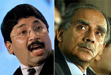 Former telecom ministers Dayanidhi Maran and Arun Shourie