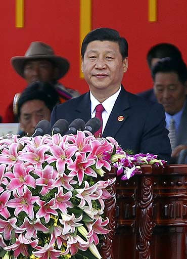 China's Vice-President Xi Jinping delivers a speech at the celebration ceremony of the 60th anniversary of Tibet's peaceful liberation in Lhasa, Tibet Autonomous Region