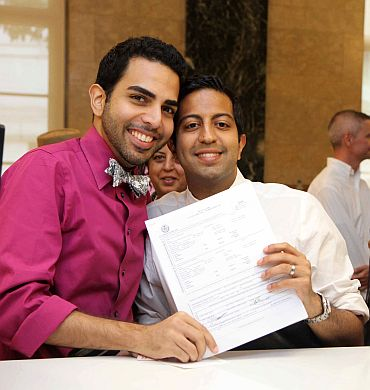 Navin Manglani and Navin Vashu Dargani were the first Indian American gay couple