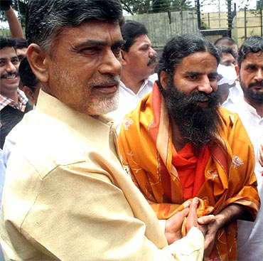 Baba Ramdev with TDP chief Chandrababu Naidu