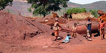 Child labourers at a mining site.