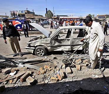 A file photo of a blast site at Peshawar