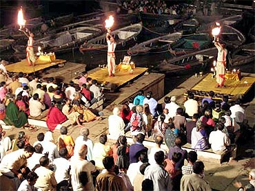The aarti on the banks of the Ganga in Varanasi