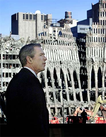 A file photo of former US President George W Bush visiting Ground Zero at the World Trade Centre