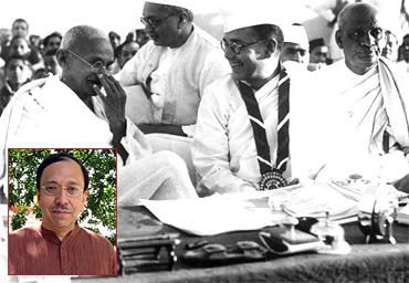 Mahatma Gandhi with Subhas Chandra Bose. Inset: Sugata Bose