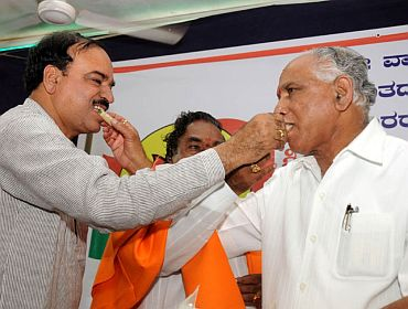In happier times: Ananth Kumar with Yeddyurappa. In the Background is state BJP president Eshwarappa
