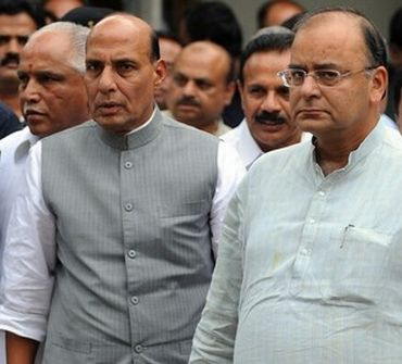Senior BJP leader Rajnath Singh and Arun Jaitley