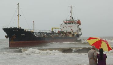 Panama-flagged vessel M V Pavit ran aground near Seven Bungalows in Mumbai