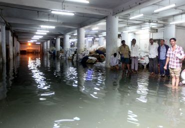 The waterlogged basement of the General Post Office in Mumbai