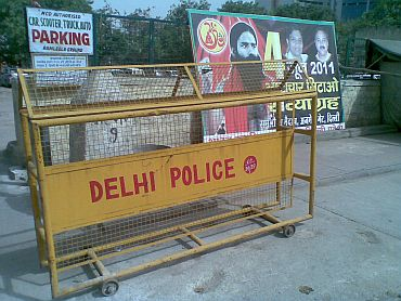 The barricaded entrance to the site of Baba Ramdev's fast against corruption in New Delhi