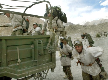 Indian soldiers near their base camp in Siachen
