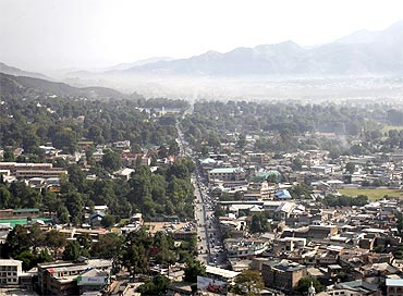 A general view of houses from a hilltop in Abbottabad