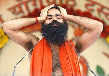 Baba Ramdev during a yoga camp