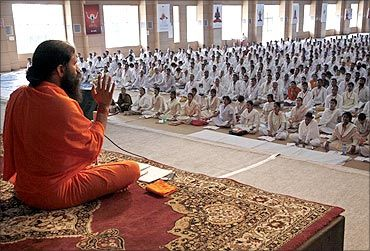 Baba Ramdev attends a yoga camp