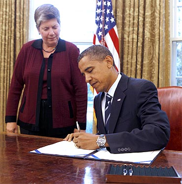 US President Barack Obama with US Secretary of Homeland Security Janet Napolitano