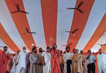 Baba Ramdev addresses his supporters at the Ramlila grounds in New Delhi on Friday