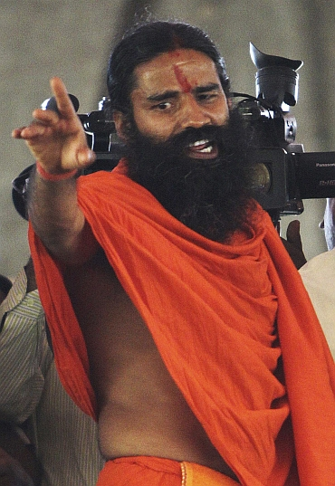 Baba Ramdev started his indefinite fast against corruption on Saturday