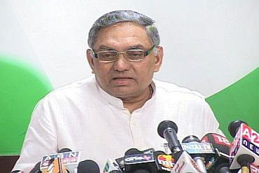 Congress general secretary Janardhan Dwivedi during a press conference in New Delhi on Monday