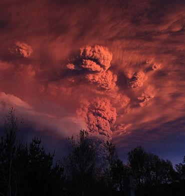 Plume of ash, estimated 10km high and three mile wide is seen after a volcano erupted in the Puyehue-Cordon Caulle volcanic chain