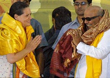 File picture of Cong chief Sonia Gandhi with Karunanidhi during a function in Chennai