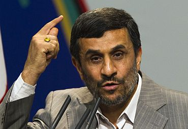 Iran's President Mahmoud Ahmadinejad speaks during a meeting with guests of the International Conference on Global Alliance Against Terrorism, in Tehran on May 15