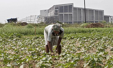 A farmer works a crop next to the closed Tata Motors Nano car factory in Singur