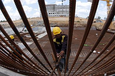 Workers construct prototype of Fast Breeder Reactor at Department of Atomic Energy in Kalpakkam