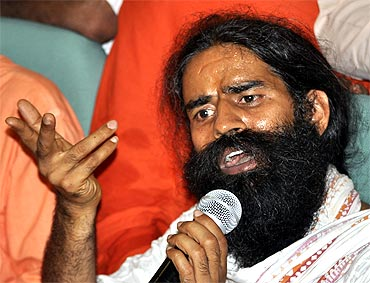 Baba Ramdev addressing the media at Haridwar