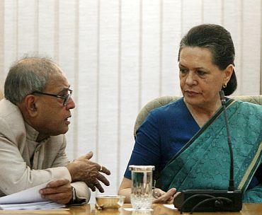 File photo of Sonia Gandhi with Pranab Mukherjee