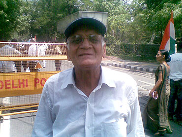 BK Sharma came all the way from Kanpur to attend the protest