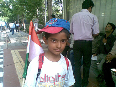Seven-year-old Madhav Khan just wanted to see Hazare in person