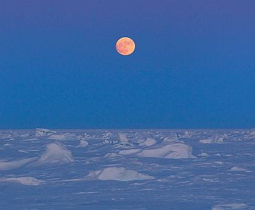 The moon rises over Arctic ice near the 2011 Applied Physics Laboratory Ice Station