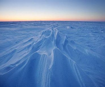 Wind patterns are left in the ice pack that covers the Arctic Ocean north of Prudhoe Bay