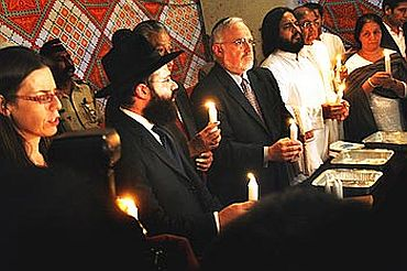 Israeli Consul General in Mumbai Orna Sagiv and other Israeli Rabbis in a candle light vigil in memory of 26/11 victims in Mumbai
