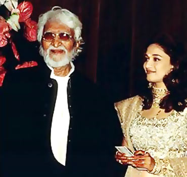 A file photo of Husain with Madhuri Dixit