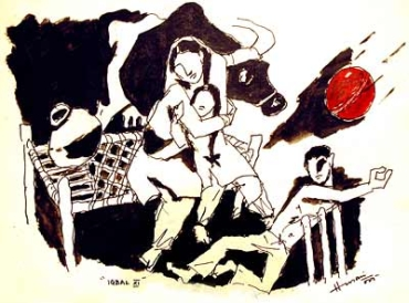 A painting by M F Husain