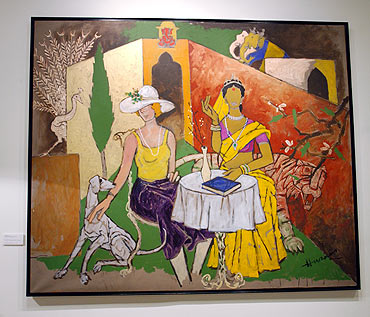 A painting of M F Husain